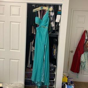 Mori Lee Prom Dress Aqua, One Shoulder, leg slit